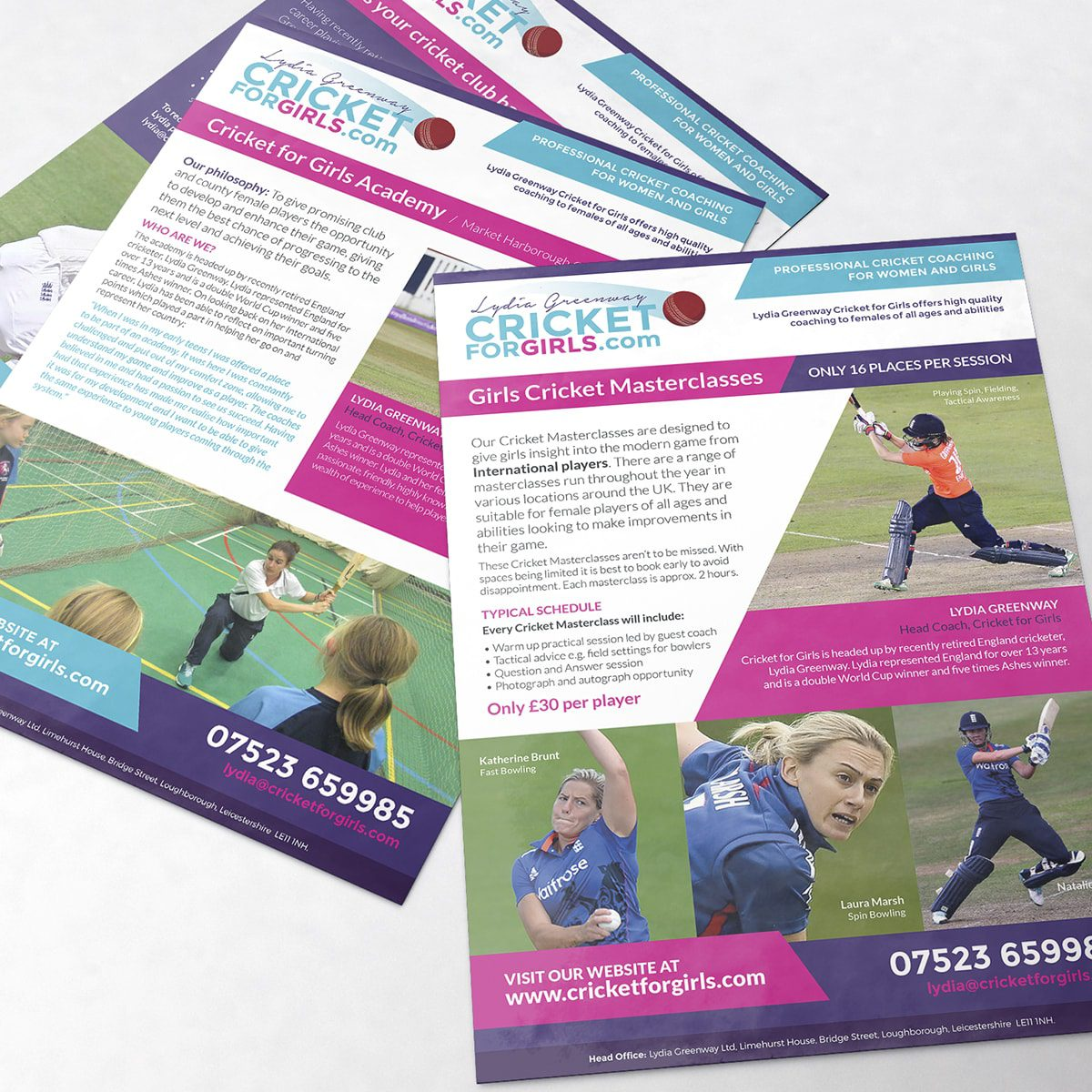 Cricket For Girls Leaflets | Portfolio | Blackberry Design
