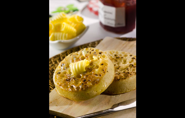 Food Photography | Buttered Crumpets on Wood